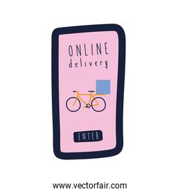 onflat delivery lettering campaign with bicycle in smartphone flat style