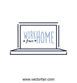 work from home lettering campaign in laptop flat style