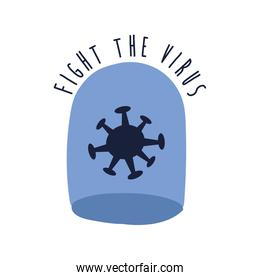 fight the virus lettering campaign with particle in dome flat style