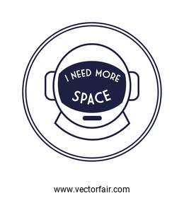 space circular badge with astronaut helmet line style
