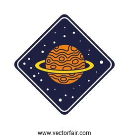 space badge with saturn planet line and fill style
