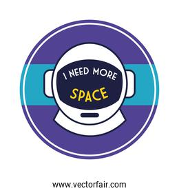 space circular badge with astronaut helmet line and fill style