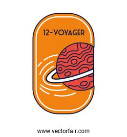 space badge with saturn planet and 12 voyager line and fill style