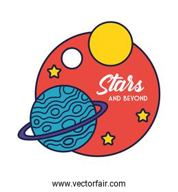 space badge with saturn planet and stars line and fill style