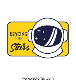 space badge with astronaut helmet line and fill style
