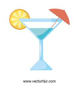 tropical cocktail cup with umbrella flat style icon