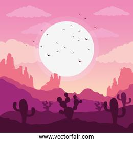 beautiful landscape desert scene with cactus and birds flying