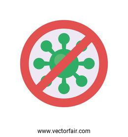 stop covid19 virus particle flat style