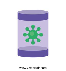 pot with covid19 virus particle flat style