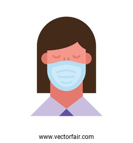 woman using face mask flat style icon