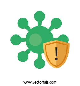 covid19 virus particle with shield flat style