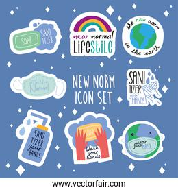 bundle of eight new norm letterings campaign set flat style icons