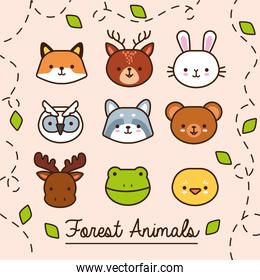 bundle of kawaii animals with leaves plant line and fill style