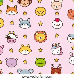 bundle of kawaii animals with stars line and fill style