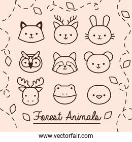 bundle of kawaii animals with leaves plant line style