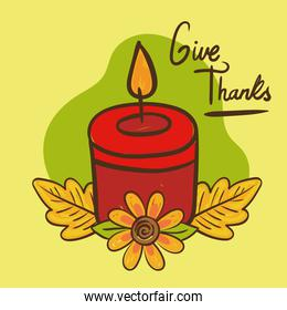 give thanks lettering with candle hand draw style