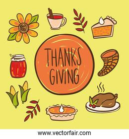 happy thanksgiving day lettering with set icons hand draw style