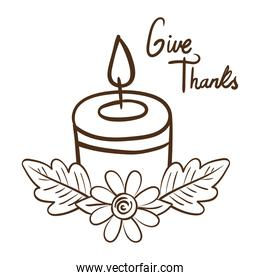 give thanks lettering with candle line style