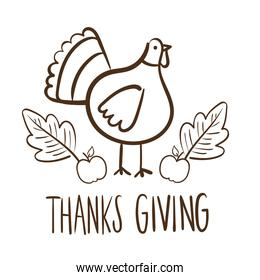 happy thanksgiving day lettering with turkey line style