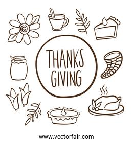 happy thanksgiving day lettering with set icons line style