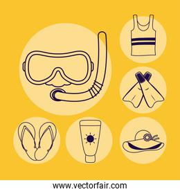 snorkel accessory and set icons line style