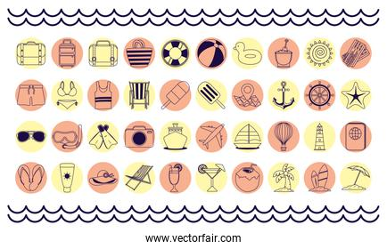 bundle of fourty summer vacations line style set icons