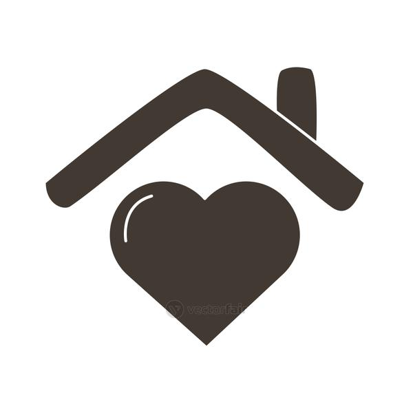 heart love in house silhouette style icon