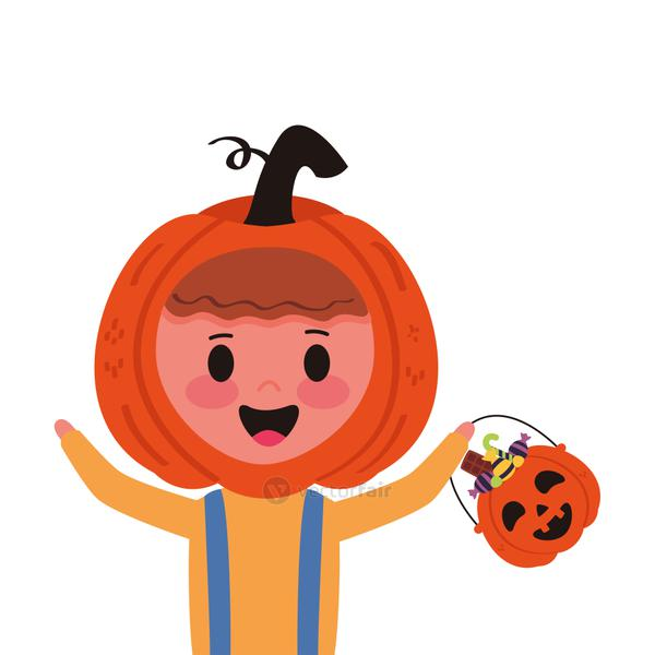 little boy with pumpkin and candies disguise character