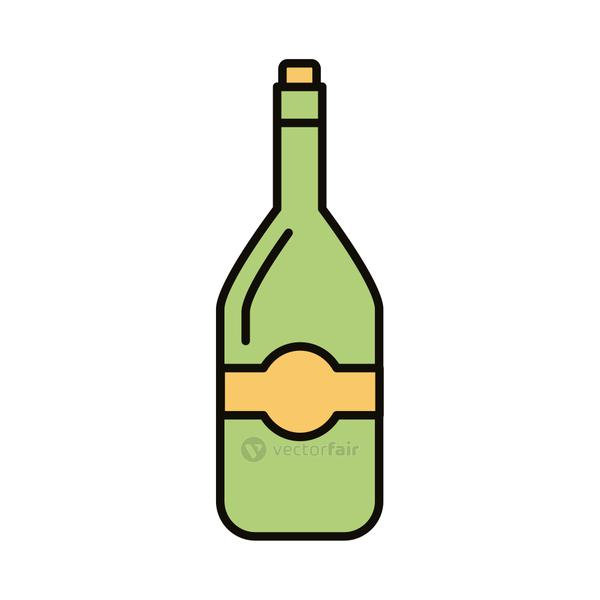 beverage bottle green line and fill icon