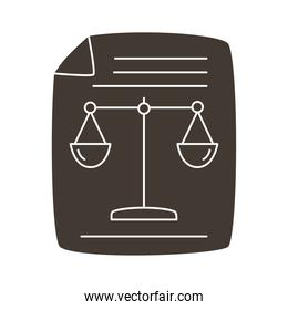 paper document with scale balance silhouette style icon