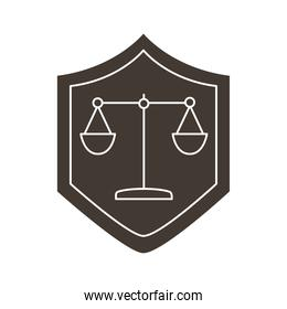 scale balance in shield silhouette style icon