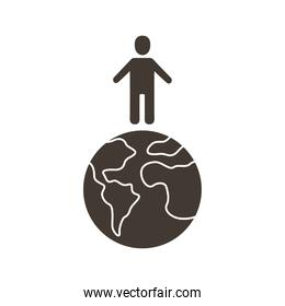 avatar in world planet earth silhouette style icon