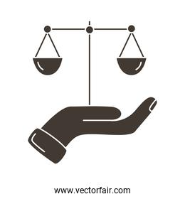 hand lifting scale balance silhouette style