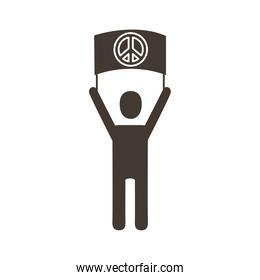 activist avatar lifting banner with peace symbol silhouette style icon