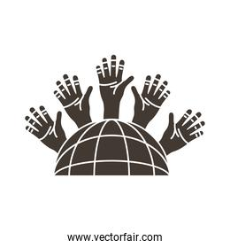 sphere browser with hands people around silhouette style icon