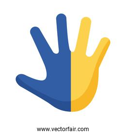 down syndrome hand print painted flat style icon