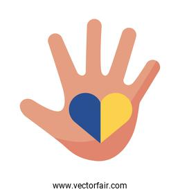 down syndrome hand painted with heart flat style icon