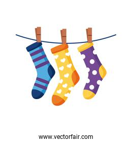 down syndrome socks hanging in wire flat style icon