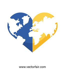 down syndrome earth with heart shape flat style icon
