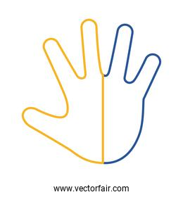 down syndrome hand print painted line style icon