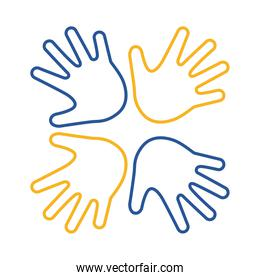down syndrome hands around line style icon