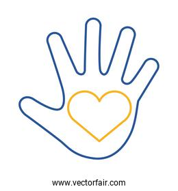 down syndrome hand painted with heart line style icon