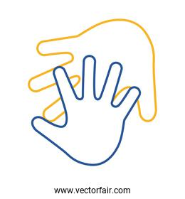 down syndrome hands print line style icon