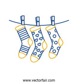 down syndrome socks hanging in wire line style icon