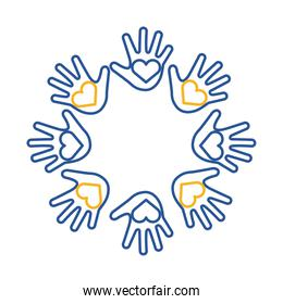 down syndrome hands with hearts around line style icon