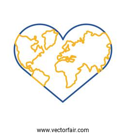 down syndrome earth with heart shape line style icon