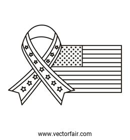 united states of america flag with ribbon campaign line style icon