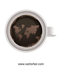 coffee cup drink with world map airview icon