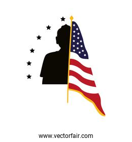 soldier silhouette figure with usa flag in pole
