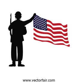 soldier with rifle silhouette figure and usa flag